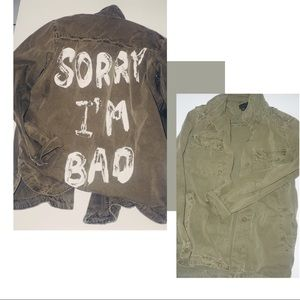 Painted army green jacket sz M